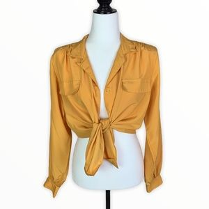 Vintage 80's Yellow Silky Button Up Blouse
